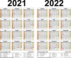Template 3: Excel template for two year calendar 2021/2022 (landscape orientation, 1 page)