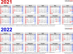Template 1: Excel template for two year calendar 2021/2022 (landscape orientation, 1 page, in red and blue)