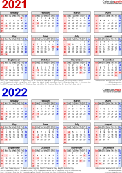 Download Template 7: PDF template for two year calendar 2021/2022 (portrait orientation, 1 page, years stacked, red and blue)