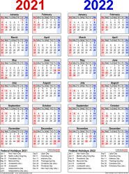 Download Template 8: PDF template for two year calendar 2021/2022 (portrait orientation, 1 page, years side by side, red and blue)