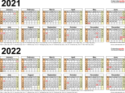 Download Template 6: PDF template for two year calendar 2021/2022 (landscape orientation, 1 page, linear)