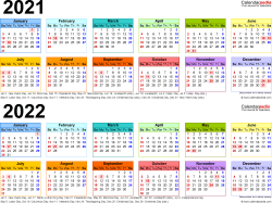 Download Template 4: PDF template for two year calendar 2021/2022 (landscape orientation, 1 page, linear, multi-colored)