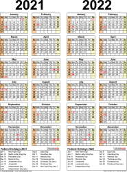Download Template 12: PDF template for two year calendar 2021/2022 (portrait orientation, 1 page, years side by side)