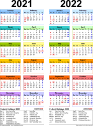 Download Template 10: PDF template for two year calendar 2021/2022 (portrait orientation, 1 page, years side by side, multi-colored)
