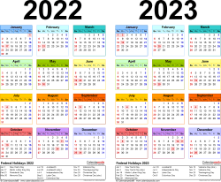 Download Template 3: PDF template for two year calendar 2022/2023 (landscape orientation, 1 page, years side by side, multi-colored)