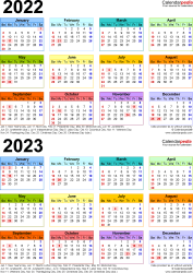 Download Template 9: Microsoft Word template for two year calendar 2022/2023 (portrait orientation, 1 page, years stacked, multi-colored)