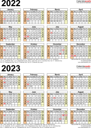 Download Template 11: Microsoft Excel template for two year calendar 2022/2023 (portrait orientation, 1 page, years stacked)
