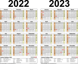 Download Template 5: PDF template for two year calendar 2022/2023 (landscape orientation, 1 page, years side by side)