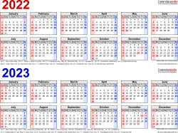 Download Template 2: Microsoft Excel template for two year calendar 2022/2023 (landscape orientation, 1 page, linear, in red and blue)