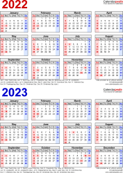 Download Template 7: PDF template for two year calendar 2022/2023 (portrait orientation, 1 page, years stacked, red and blue)