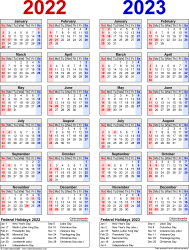 Download Template 8: PDF template for two year calendar 2022/2023 (portrait orientation, 1 page, years side by side, red and blue)