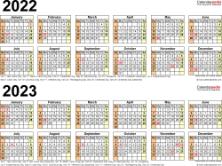 Download Template 6: PDF template for two year calendar 2022/2023 (landscape orientation, 1 page, linear)