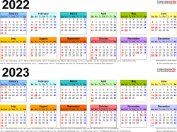 Download Template 4: PDF template for two year calendar 2022/2023 (landscape orientation, 1 page, linear, multi-colored)