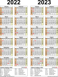 Download Template 12: PDF template for two year calendar 2022/2023 (portrait orientation, 1 page, years side by side)