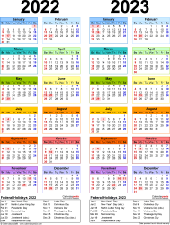Download Template 10: PDF template for two year calendar 2022/2023 (portrait orientation, 1 page, years side by side, multi-colored)