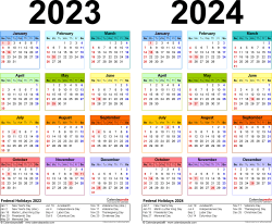 Download Template 3: PDF template for two year calendar 2023/2024 (landscape orientation, 1 page, years side by side, multi-colored)