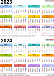 Download Template 9: PDF template for two year calendar 2023/2024 (portrait orientation, 1 page, years stacked, multi-colored)