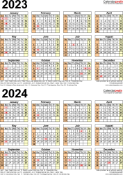 Download Template 11: PDF template for two year calendar 2023/2024 (portrait orientation, 1 page, years stacked)