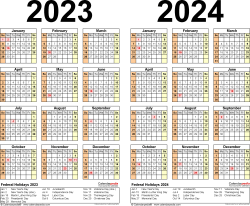 Download Template 5: PDF template for two year calendar 2023/2024 (landscape orientation, 1 page, years side by side)