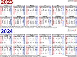 Download Template 2: PDF template for two year calendar 2023/2024 (landscape orientation, 1 page, linear, in red and blue)