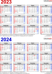 Download Template 7: PDF template for two year calendar 2023/2024 (portrait orientation, 1 page, years stacked, red and blue)