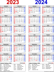 Template 8: PDF template for two year calendar 2023/2024 (portrait orientation, 1 page, years side by side, red and blue)