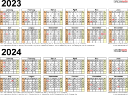Download Template 6: PDF template for two year calendar 2023/2024 (landscape orientation, 1 page, linear)