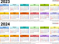 Download Template 4: PDF template for two year calendar 2023/2024 (landscape orientation, 1 page, linear, multi-colored)