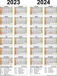 Download Template 12: PDF template for two year calendar 2023/2024 (portrait orientation, 1 page, years side by side)