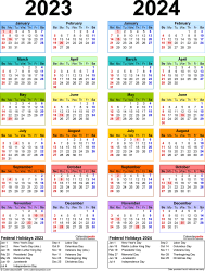 Download Template 10: PDF template for two year calendar 2023/2024 (portrait orientation, 1 page, years side by side, multi-colored)