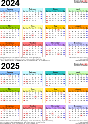Download Template 9: PDF template for two year calendar 2024/2025 (portrait orientation, 1 page, years stacked, multi-colored)