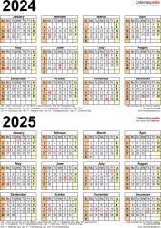 Download Template 11: PDF template for two year calendar 2024/2025 (portrait orientation, 1 page, years stacked)