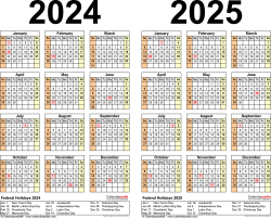 Download Template 5: PDF template for two year calendar 2024/2025 (landscape orientation, 1 page, years side by side)
