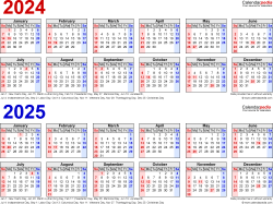 Download Template 2: PDF template for two year calendar 2024/2025 (landscape orientation, 1 page, linear, in red and blue)