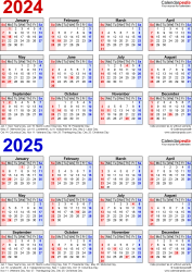 Download Template 7: PDF template for two year calendar 2024/2025 (portrait orientation, 1 page, years stacked, red and blue)