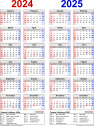 Download Template 8: PDF template for two year calendar 2024/2025 (portrait orientation, 1 page, years side by side, red and blue)