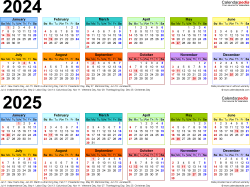 Download Template 4: PDF template for two year calendar 2024/2025 (landscape orientation, 1 page, linear, multi-colored)
