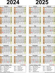 Download Template 12: PDF template for two year calendar 2024/2025 (portrait orientation, 1 page, years side by side)