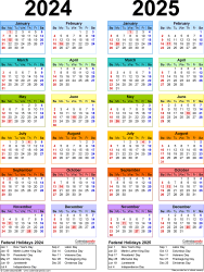 Download Template 10: PDF template for two year calendar 2024/2025 (portrait orientation, 1 page, years side by side, multi-colored)