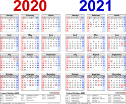 Download Template 1: PDF template for two year calendar 2020/2021 (landscape orientation, 1 page, years side by side, red and blue)