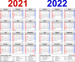 Download Template 1: PDF template for two year calendar 2021/2022 (landscape orientation, 1 page, years side by side, red and blue)
