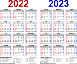 Download Template 1: PDF template for two year calendar 2022/2023 (landscape orientation, 1 page, years side by side, red and blue)