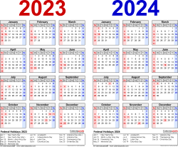 Download Template 1: PDF template for two year calendar 2023/2024 (landscape orientation, 1 page, years side by side, red and blue)