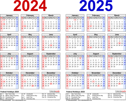 Download Template 1: PDF template for two year calendar 2024/2025 (landscape orientation, 1 page, years side by side, red and blue)