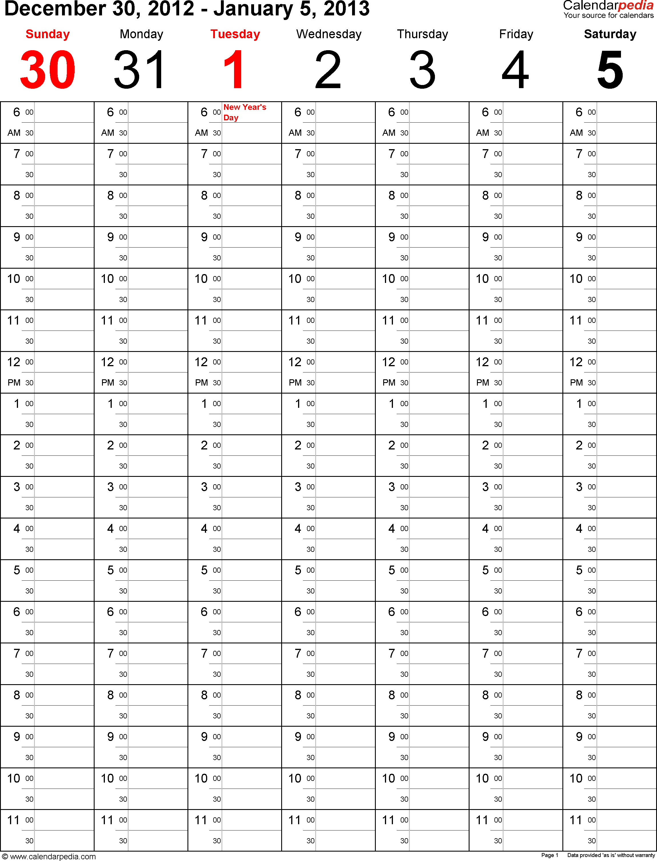 2 week calendar template word