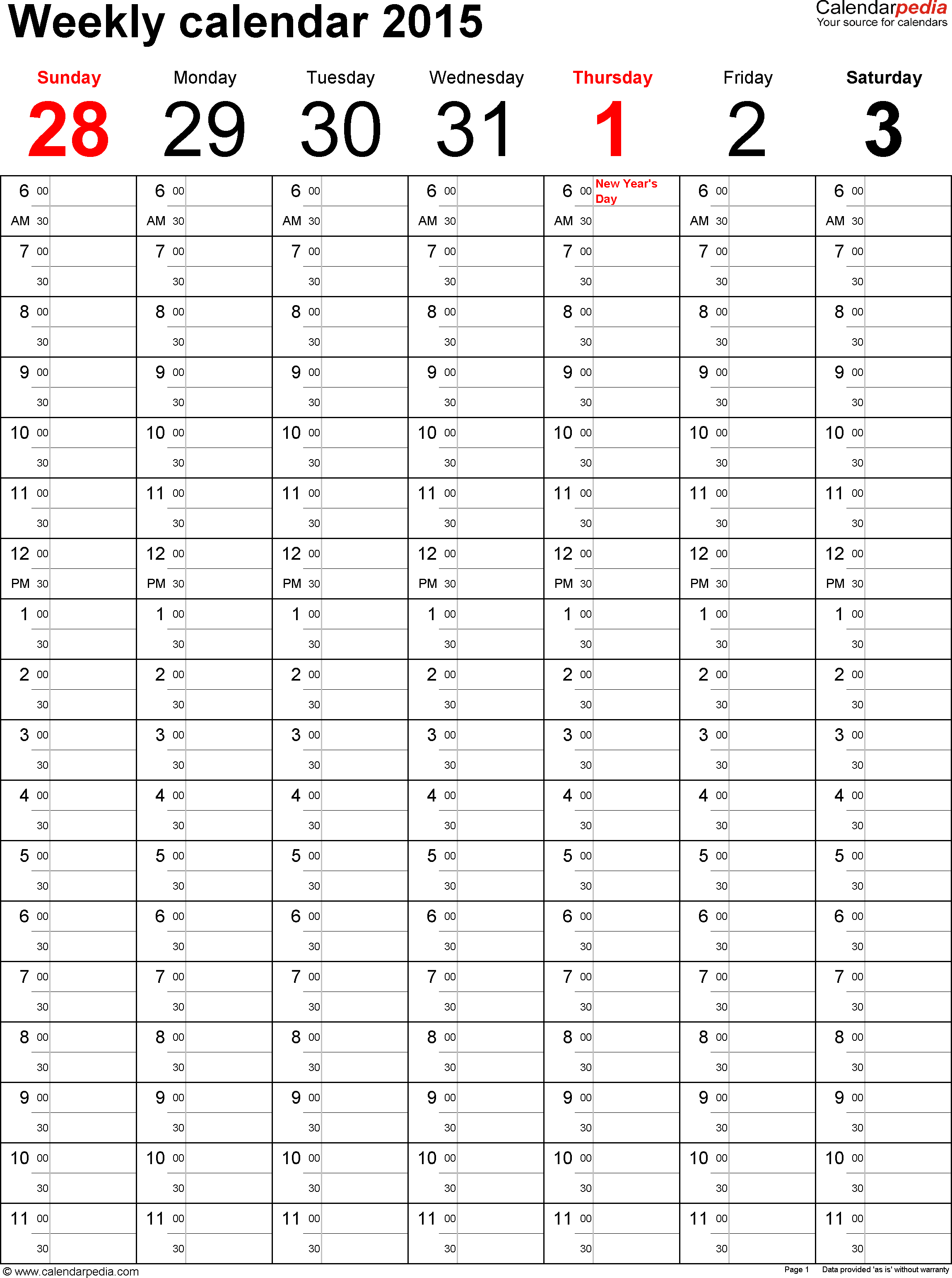 Weekly calendar 2015 for Excel - 5 free printable templates