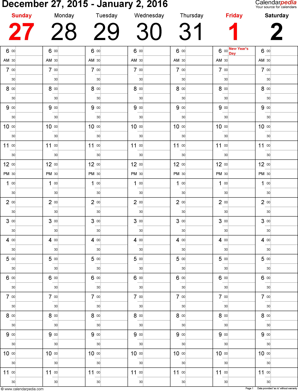 Weekly Calendar 2016 For Pdf 5 Free Printable Templates