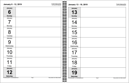 Weekly calendar 2019 for Word - 12 free printable templates