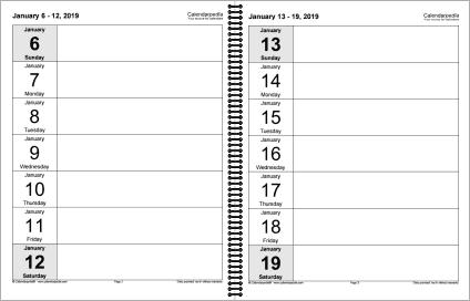 Print-ready Weekly Calendar / Diary 2019: Interior Layout
