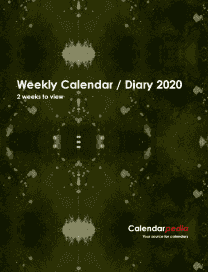 Print-ready Weekly Calendar / Diary 2020: Cover